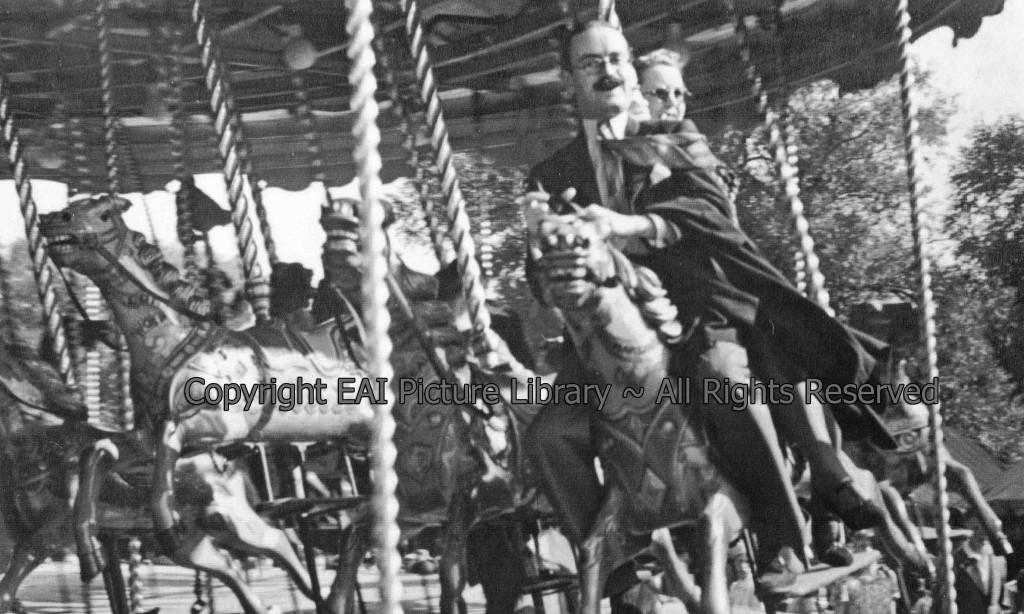 Fairground (05A) (Website) Riders on Gallopers at Hampstead Heath in 1937